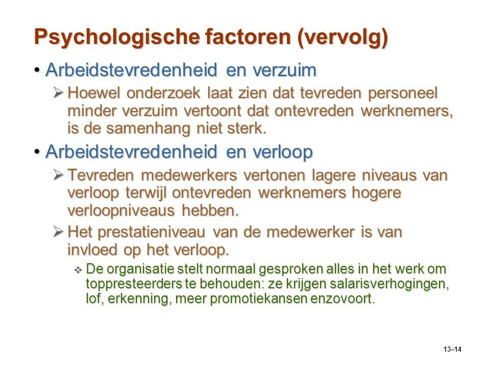 Psychologische factoren (vervolg)