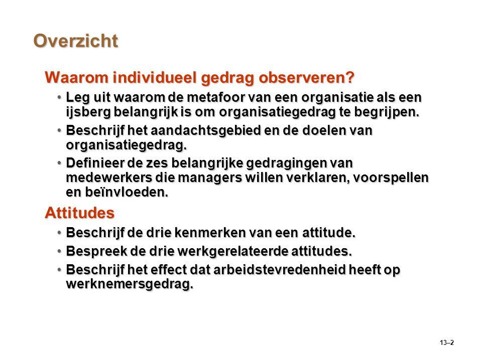 Overzicht Waarom individueel gedrag observeren Attitudes