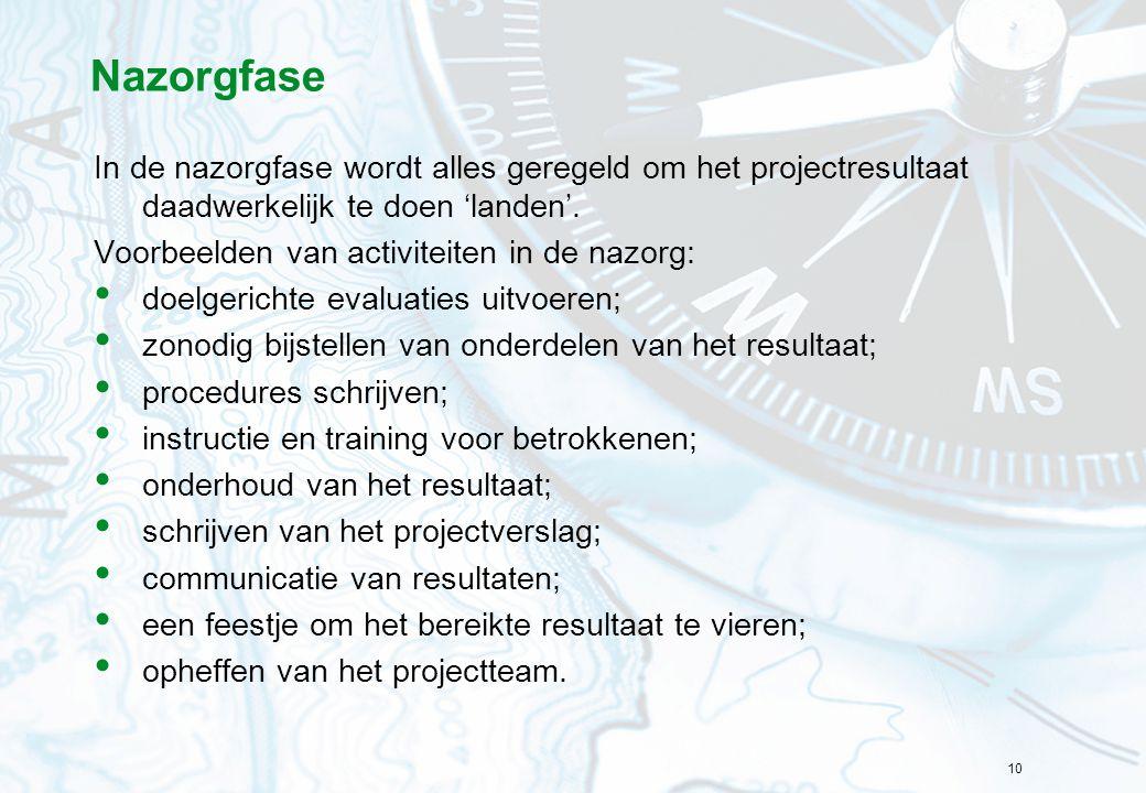 Nazorgfase In de nazorgfase wordt alles geregeld om het projectresultaat daadwerkelijk te doen 'landen'.