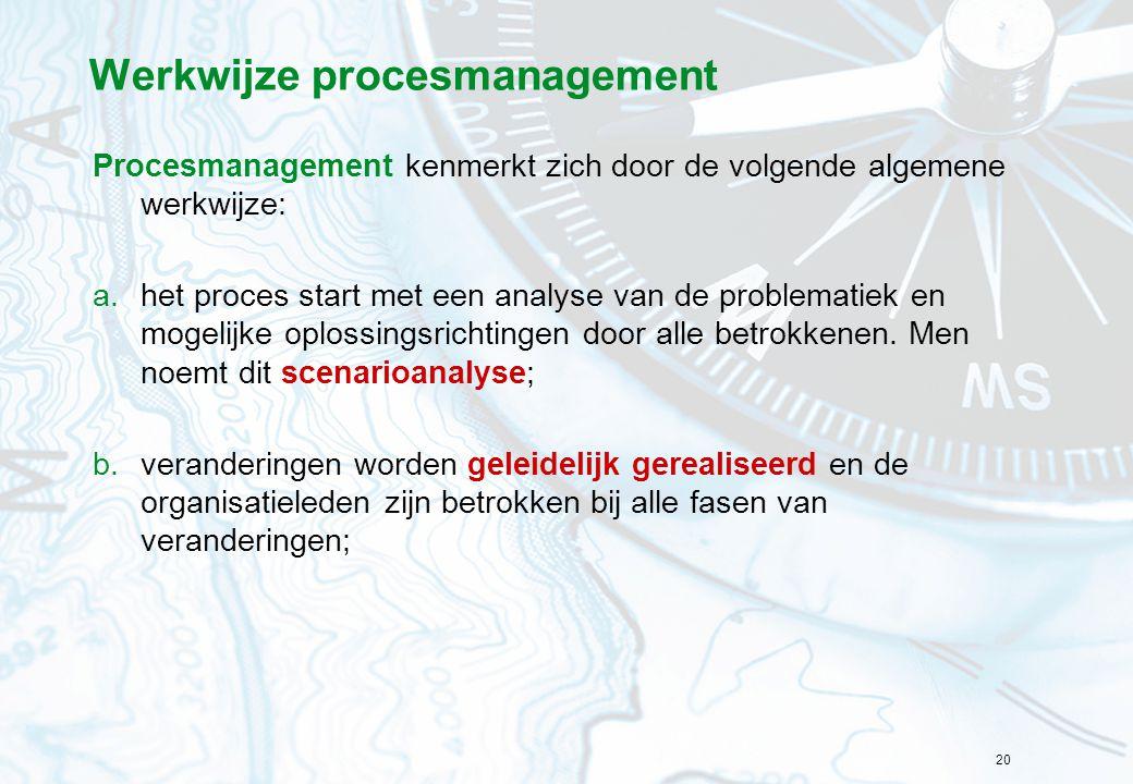 Werkwijze procesmanagement