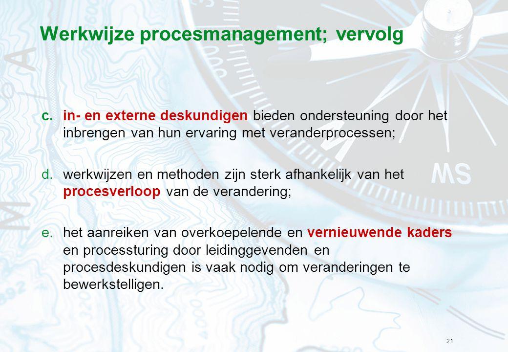 Werkwijze procesmanagement; vervolg