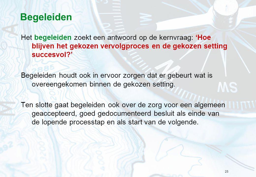 Begeleiden Het begeleiden zoekt een antwoord op de kernvraag: 'Hoe blijven het gekozen vervolgproces en de gekozen setting succesvol '