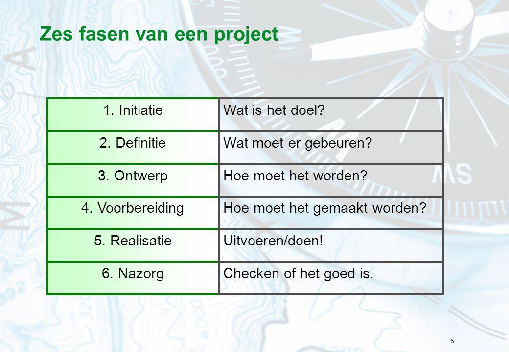 Zes fasen van een project