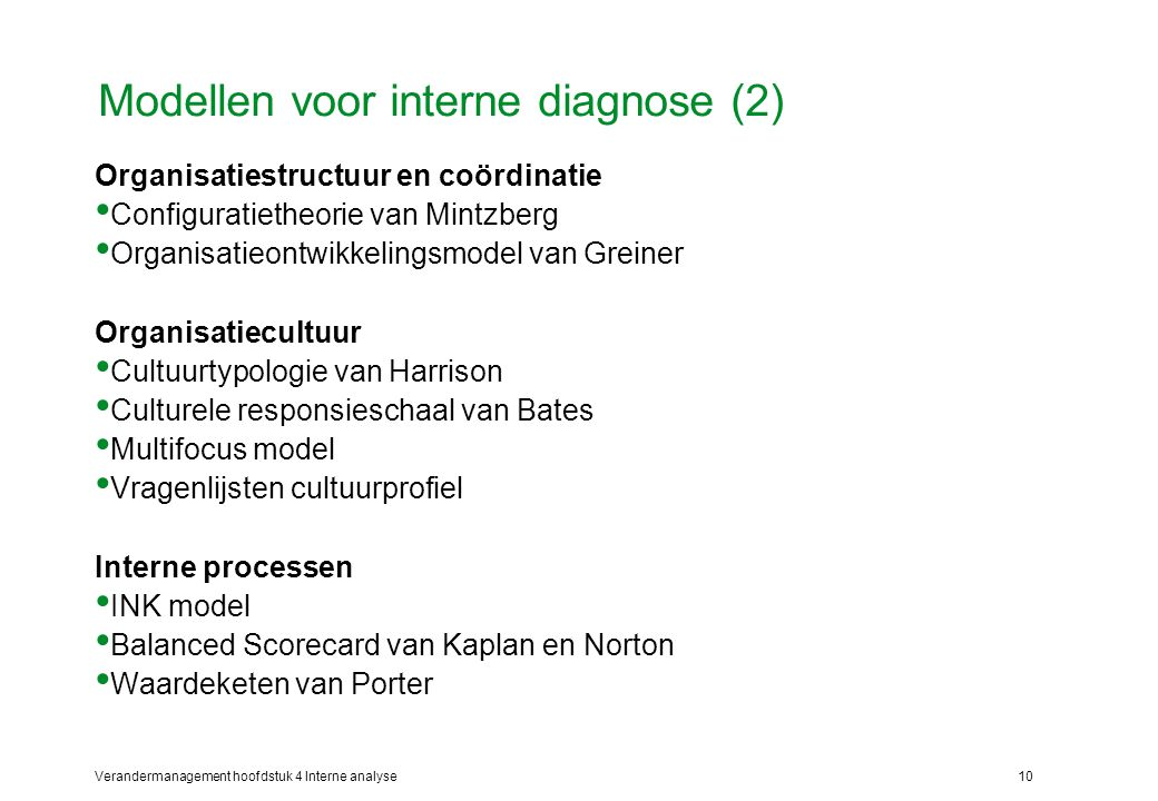 Modellen voor interne diagnose (2)