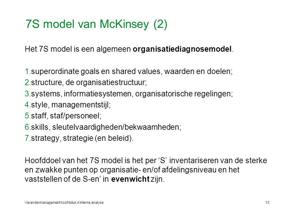 7S model van McKinsey (2) Het 7S model is een algemeen organisatiediagnosemodel. superordinate goals en shared values, waarden en doelen;