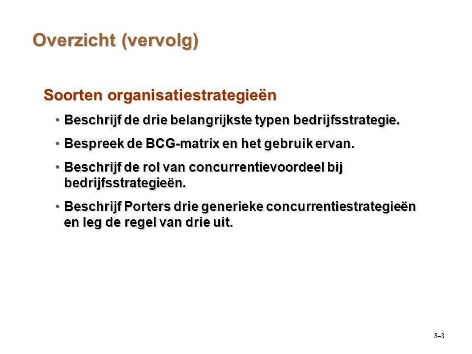 Overzicht (vervolg) Soorten organisatiestrategieën