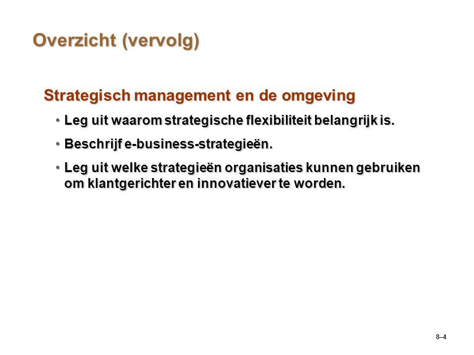 Overzicht (vervolg) Strategisch management en de omgeving