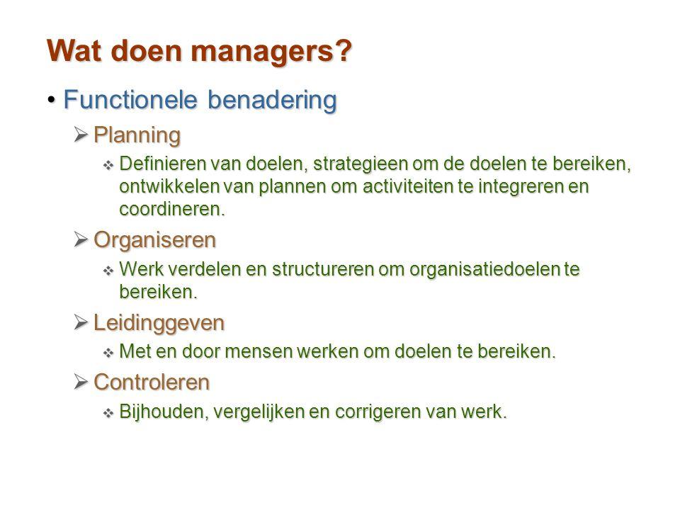 Wat doen managers Functionele benadering Planning Organiseren
