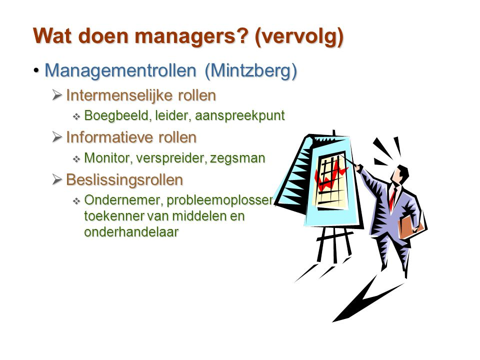 Wat doen managers (vervolg)