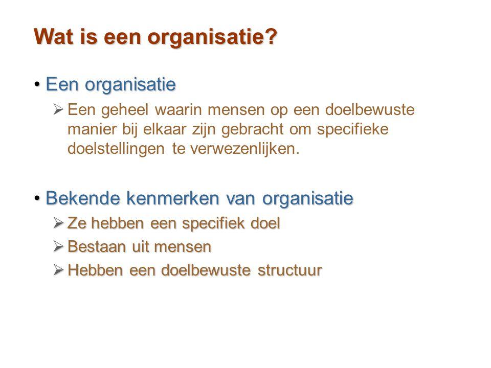 Wat is een organisatie Een organisatie