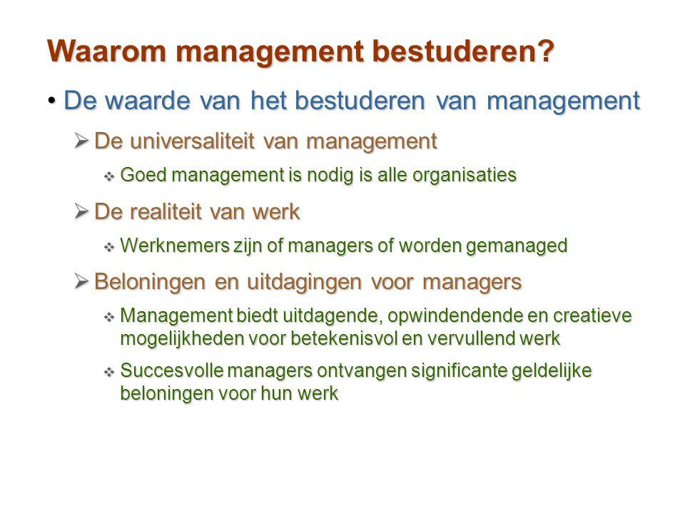 Waarom management bestuderen