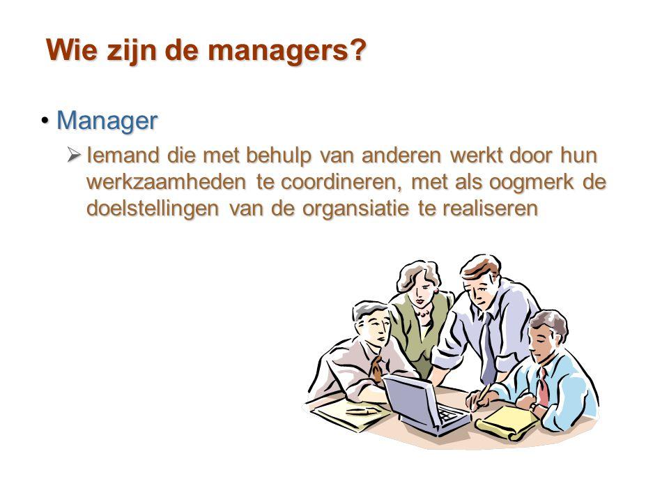 Wie zijn de managers Manager
