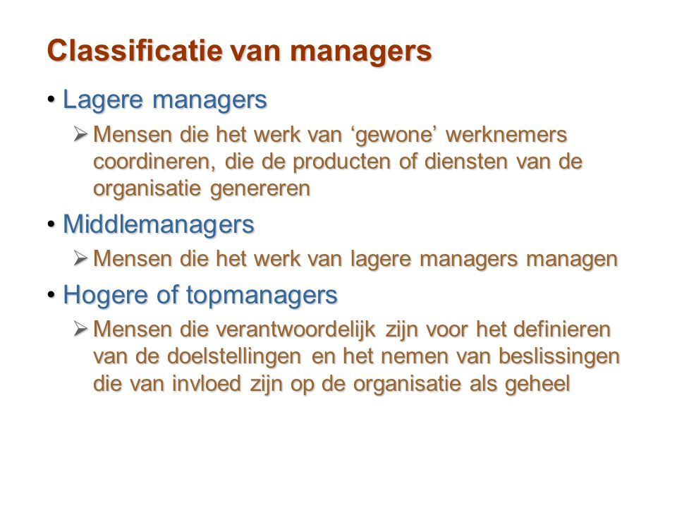 Classificatie van managers