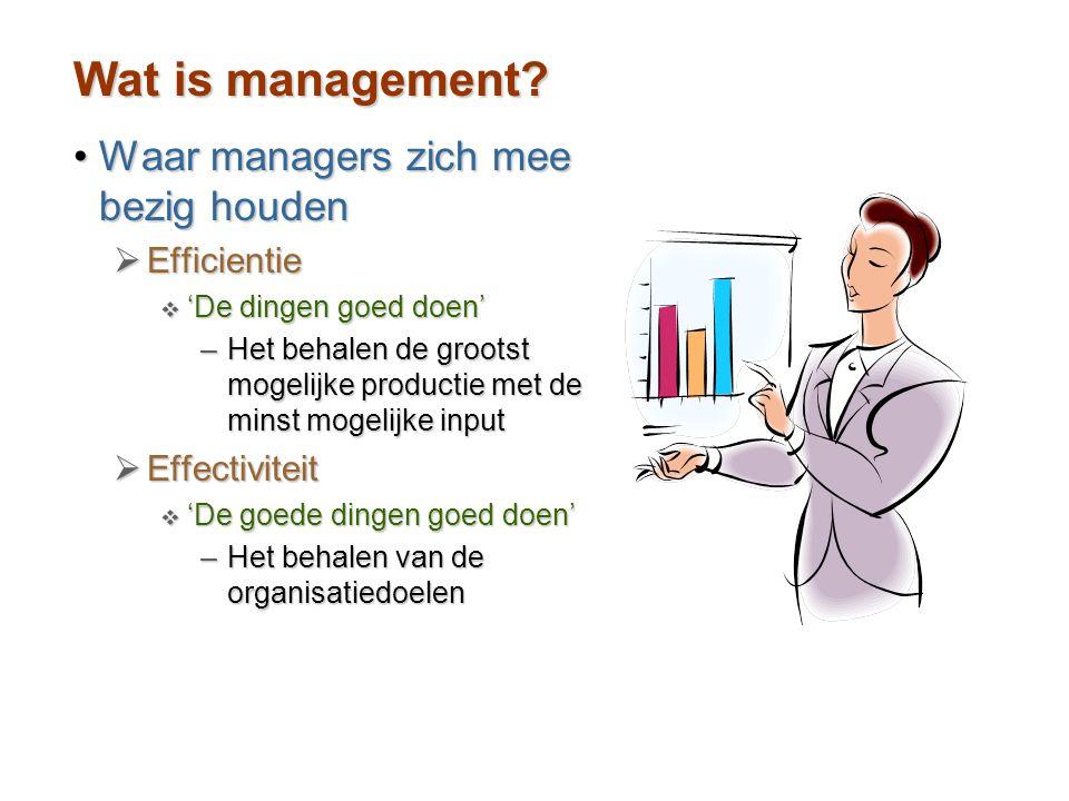 Wat is management Waar managers zich mee bezig houden Efficientie