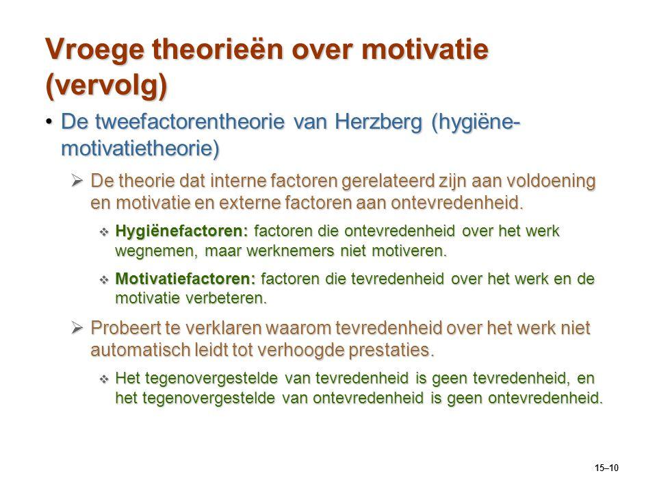 Vroege theorieën over motivatie (vervolg)