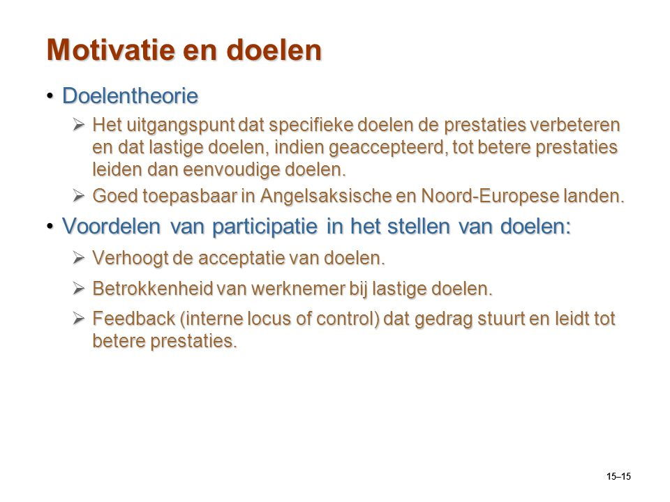 Motivatie en doelen Doelentheorie