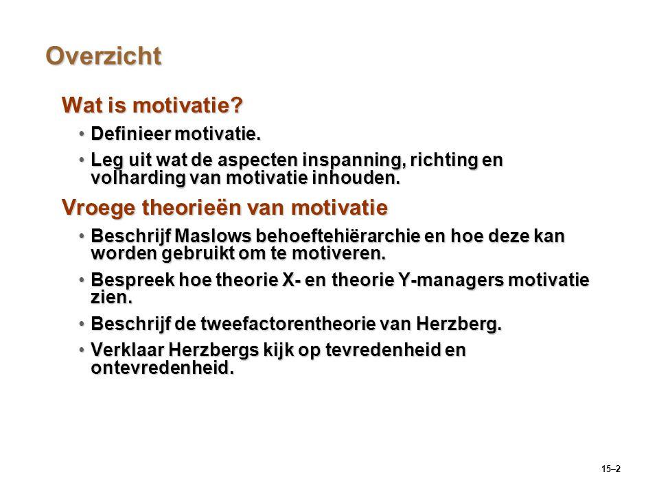 Overzicht Wat is motivatie Vroege theorieën van motivatie