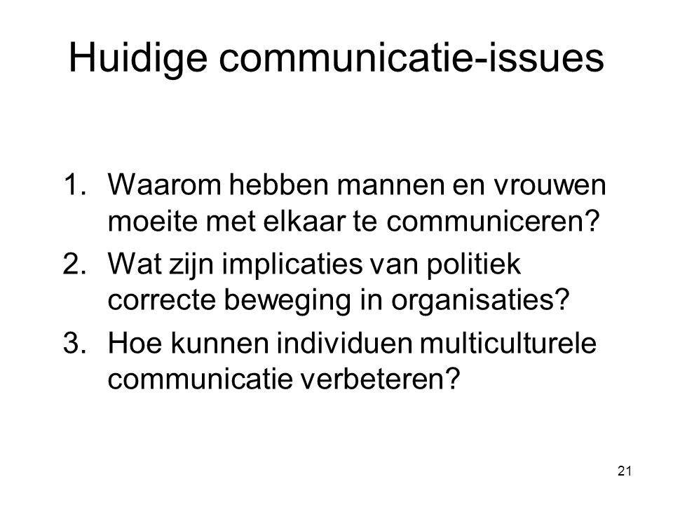 Huidige communicatie-issues