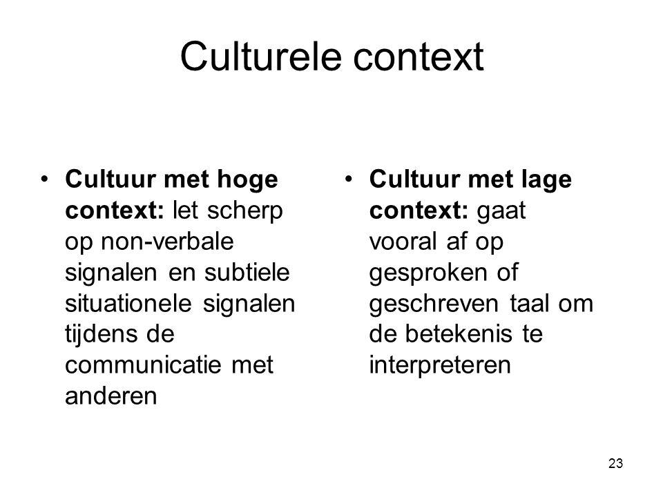 Culturele context Cultuur met hoge context: let scherp op non-verbale signalen en subtiele situationele signalen tijdens de communicatie met anderen.