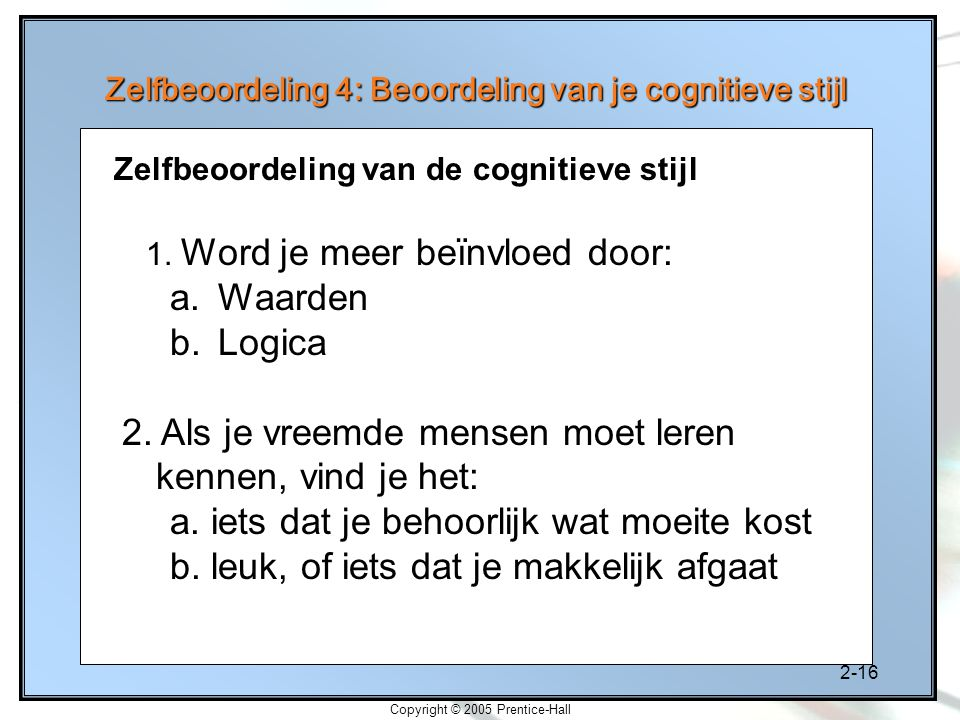 Zelfbeoordeling 4: Beoordeling van je cognitieve stijl