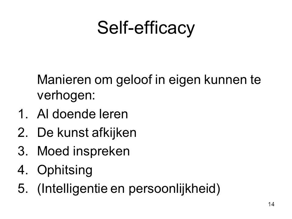 Self-efficacy Manieren om geloof in eigen kunnen te verhogen:
