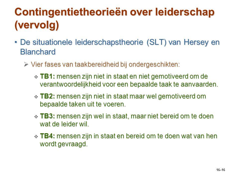 Contingentietheorieën over leiderschap (vervolg)