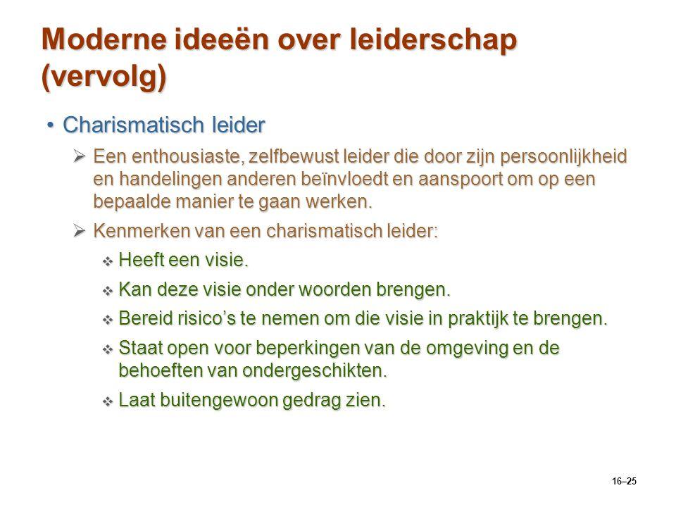 Moderne ideeën over leiderschap (vervolg)