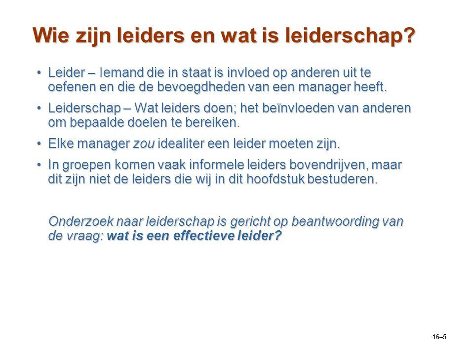 Wie zijn leiders en wat is leiderschap