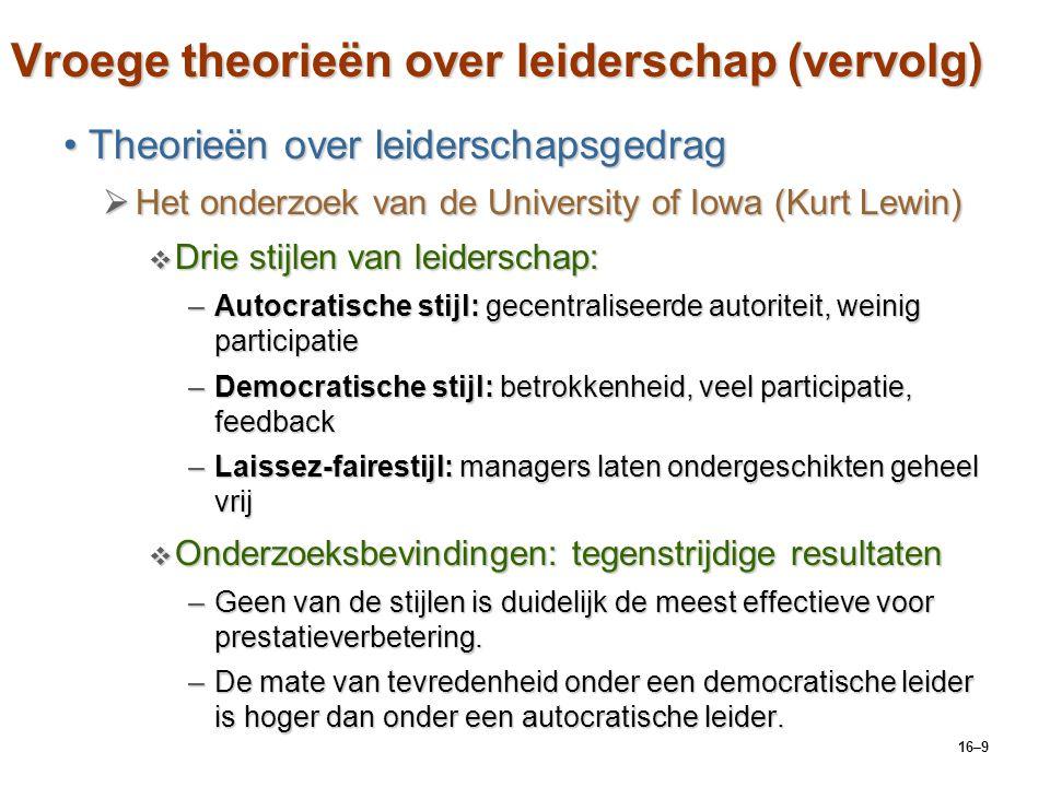 Vroege theorieën over leiderschap (vervolg)