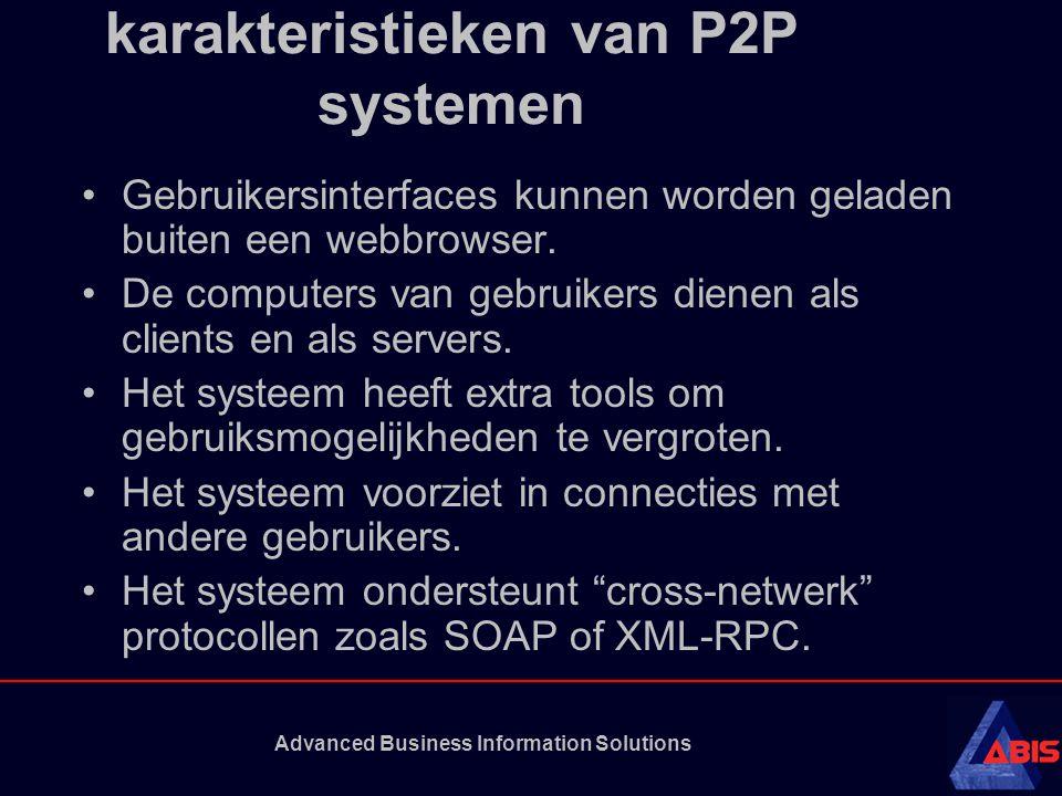 karakteristieken van P2P systemen