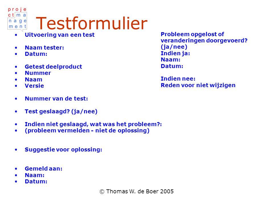 Testformulier Probleem opgelost of veranderingen doorgevoerd (ja/nee)