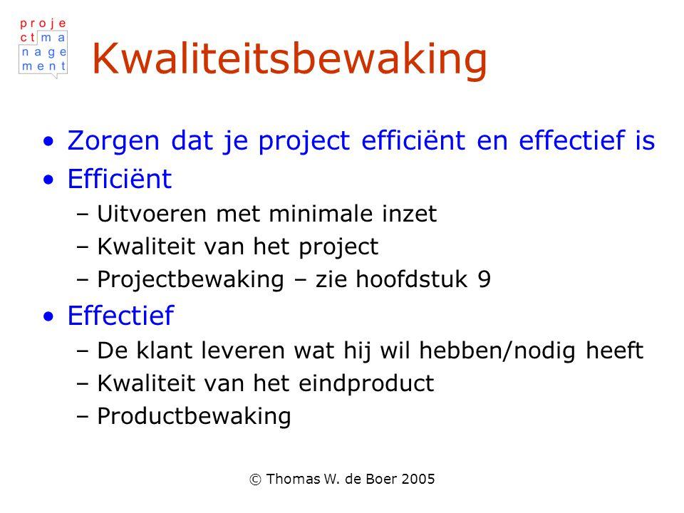 Kwaliteitsbewaking Zorgen dat je project efficiënt en effectief is