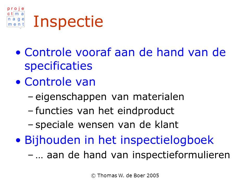 Inspectie Controle vooraf aan de hand van de specificaties