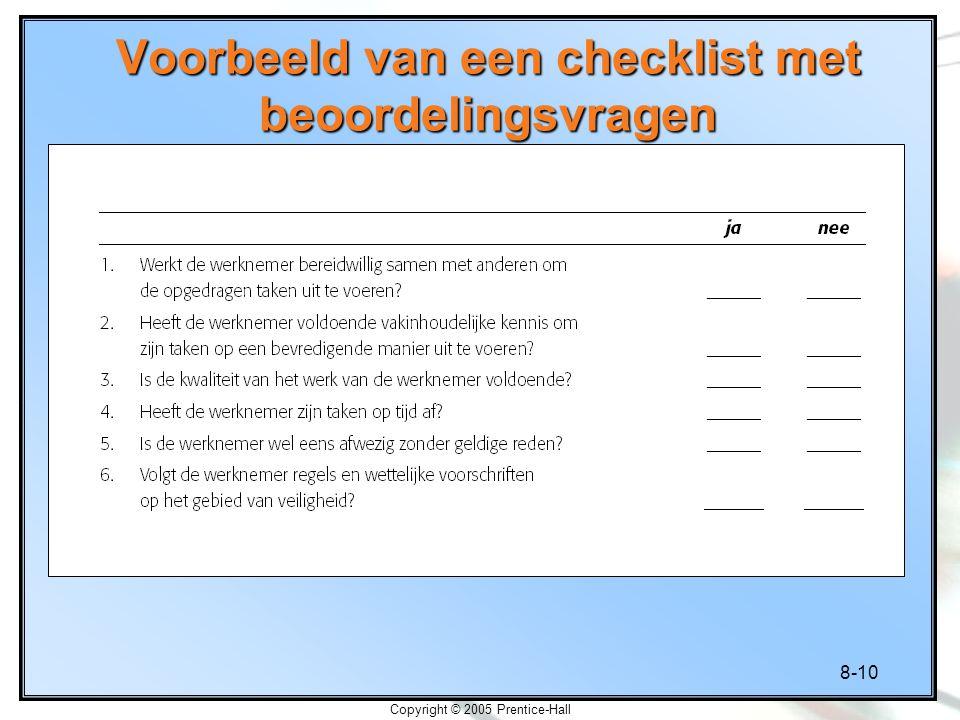 Voorbeeld van een checklist met beoordelingsvragen