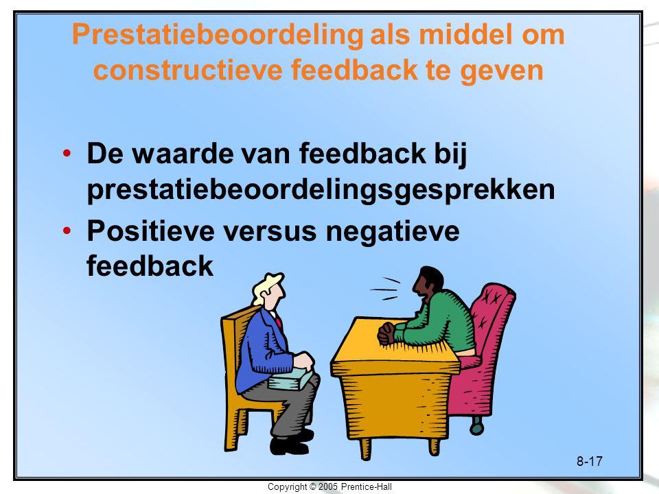 Prestatiebeoordeling als middel om constructieve feedback te geven