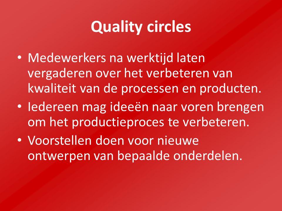Quality circles Medewerkers na werktijd laten vergaderen over het verbeteren van kwaliteit van de processen en producten.