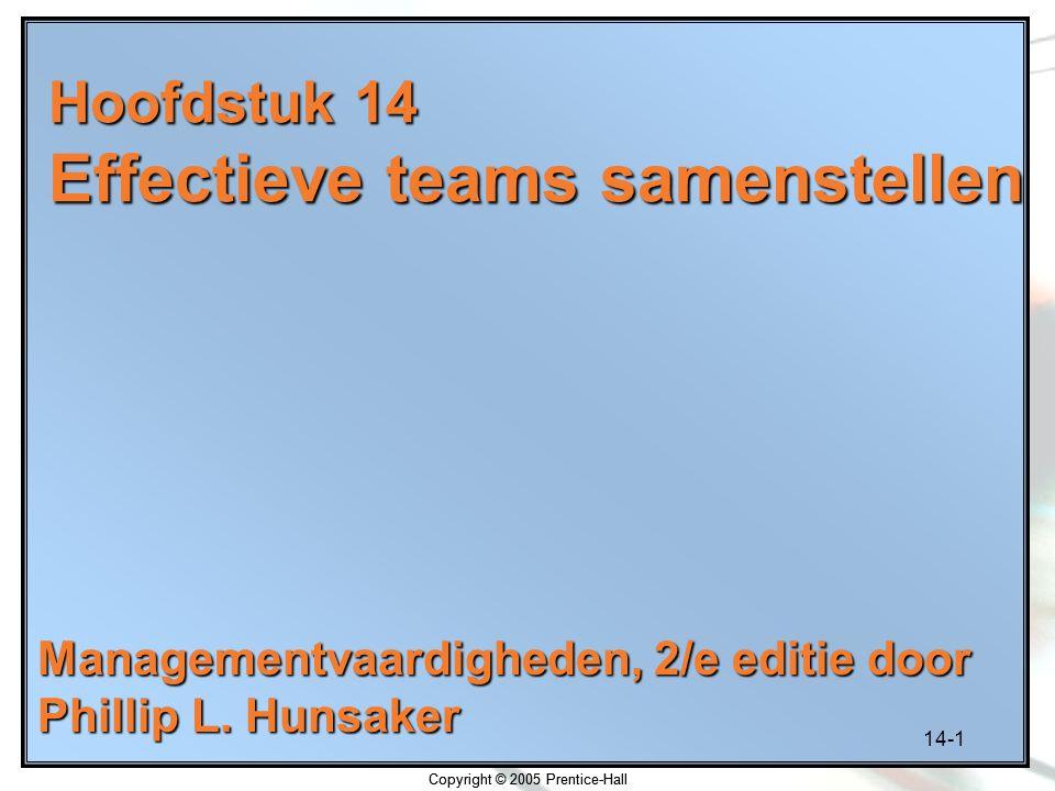 Hoofdstuk 14 Effectieve teams samenstellen