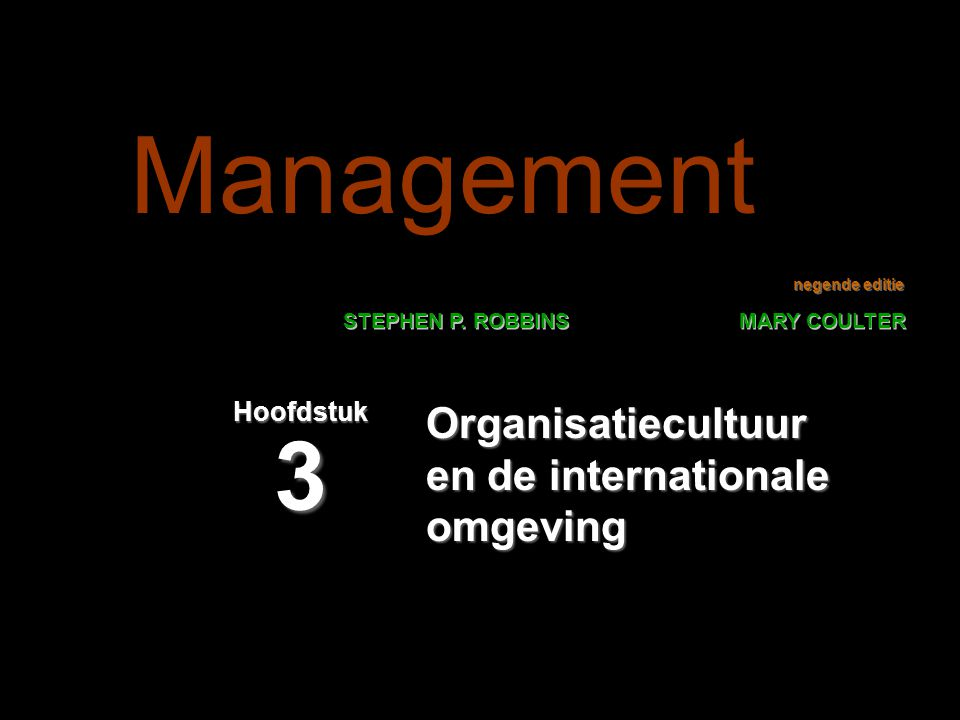 Organisatiecultuur en de internationale omgeving