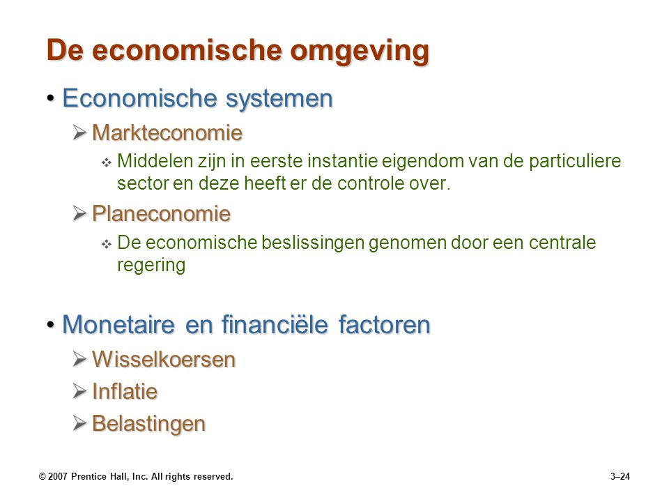 De economische omgeving