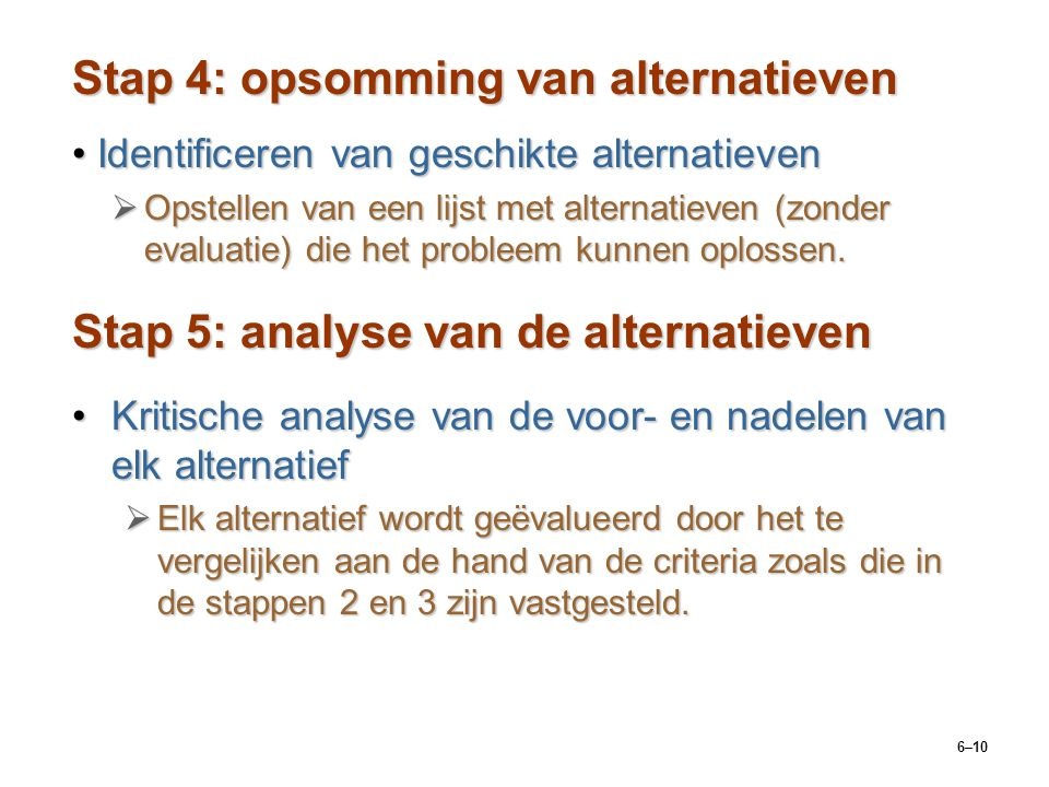 Stap 4: opsomming van alternatieven