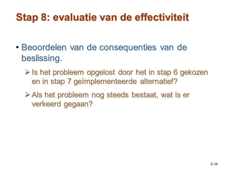 Stap 8: evaluatie van de effectiviteit