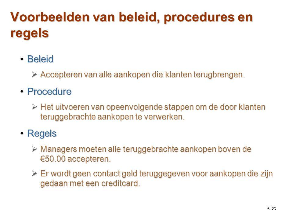 Voorbeelden van beleid, procedures en regels