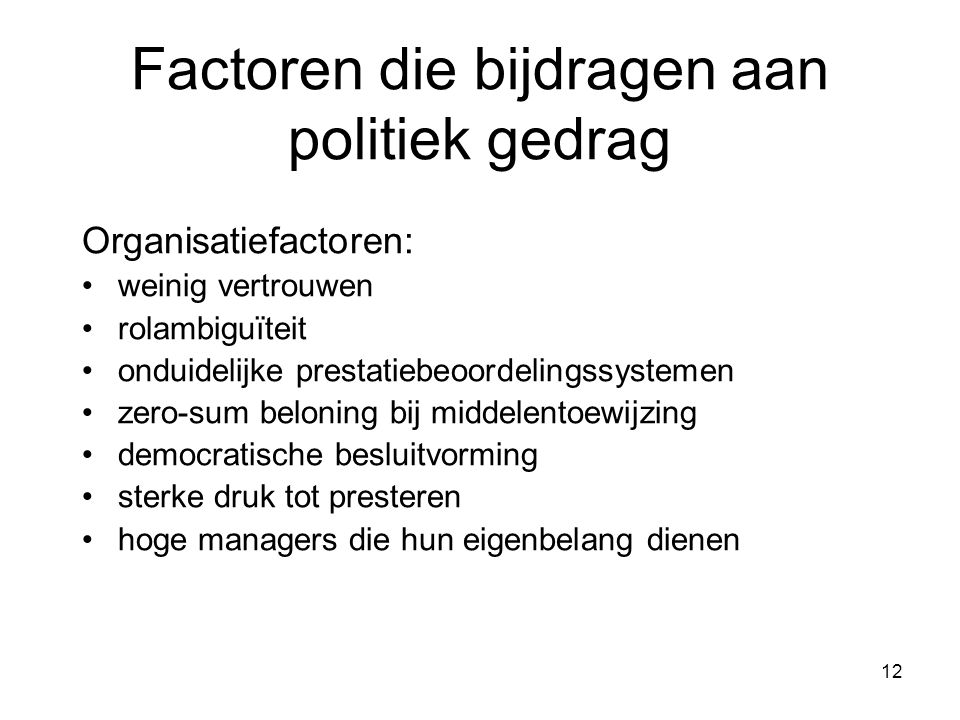 Factoren die bijdragen aan politiek gedrag