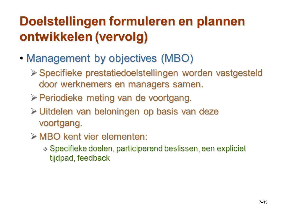 Doelstellingen formuleren en plannen ontwikkelen (vervolg)