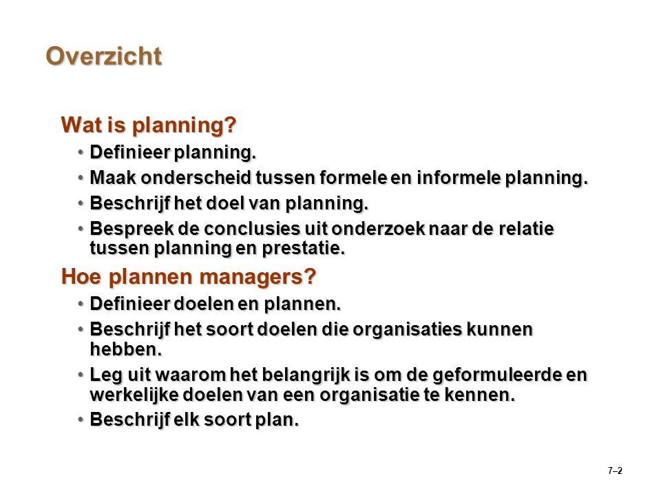 Overzicht Wat is planning Hoe plannen managers Definieer planning.