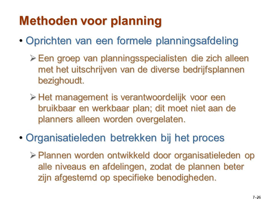 Methoden voor planning