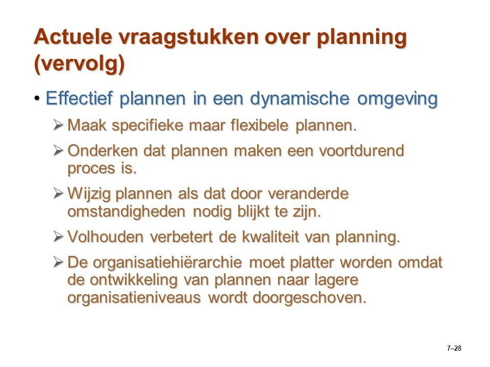 Actuele vraagstukken over planning (vervolg)