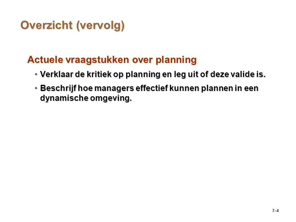 Overzicht (vervolg) Actuele vraagstukken over planning