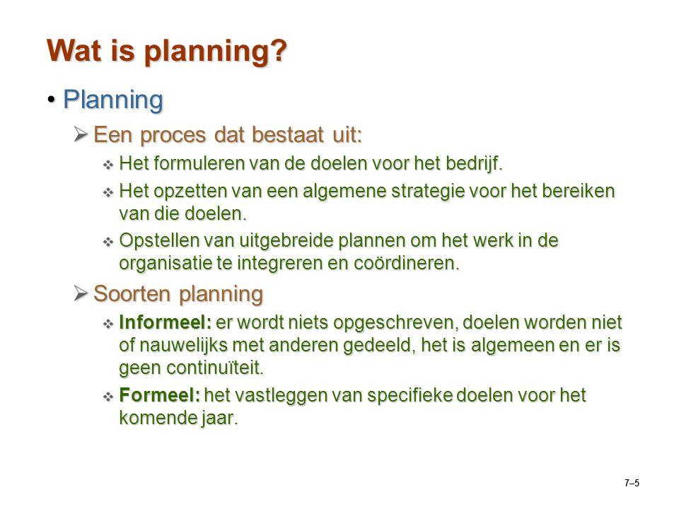 Wat is planning Planning Een proces dat bestaat uit: Soorten planning
