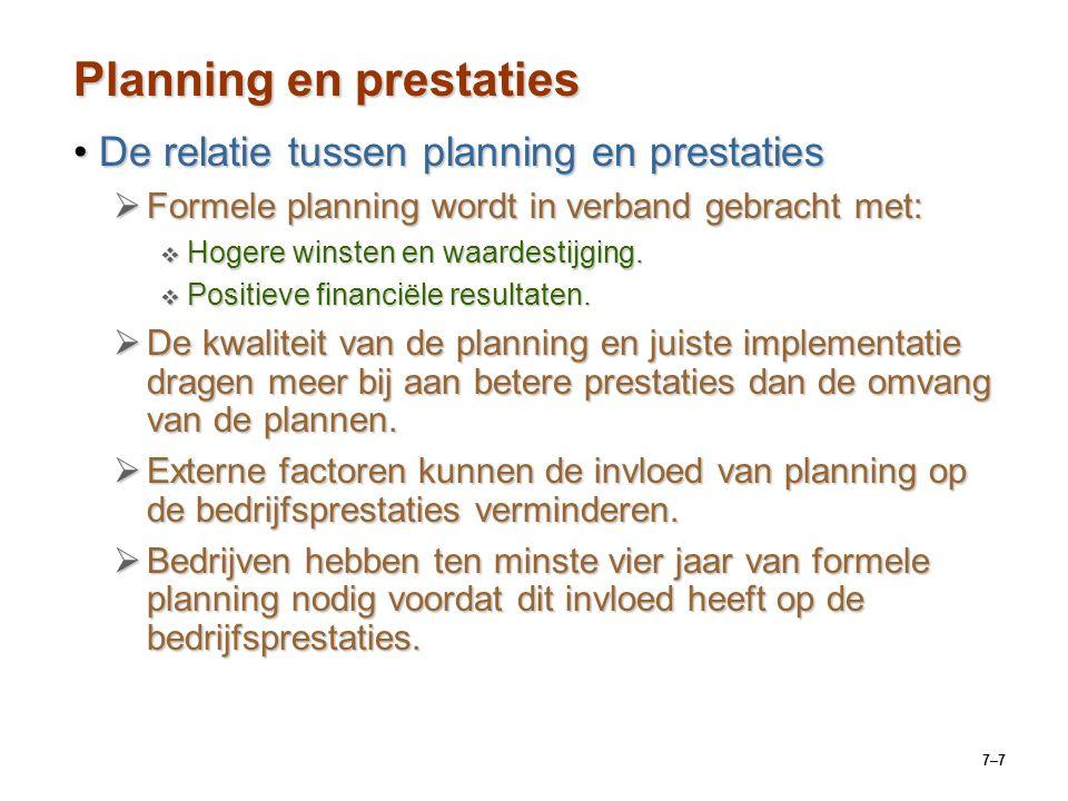 Planning en prestaties